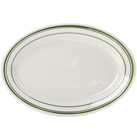 Tuxton TGB-013 Green Bay 11 5/8 inch x 8 inch Eggshell Wide Rim Rolled Edge Oval China Platter with Green Bands - 12/Case