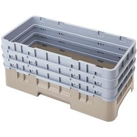Cambro HBR712184 Beige Camrack Customizable Half Size Open Base Rack with 3 Extenders