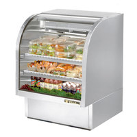 True TCGG-36-S-LD 36 inch Stainless Steel Curved Glass Refrigerated Deli Case - 17 Cu. Ft.