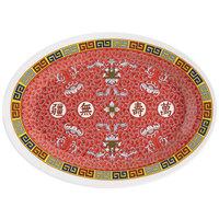 GET M-4030-L Dynasty Longevity 12 1/4 inch x 8 3/4 inch Oval Platter - 12/Case