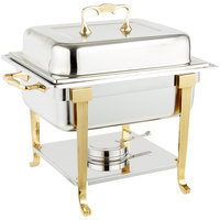 Vollrath 46035 4.1 Qt. Classic Brass Trim Chafer Half Size