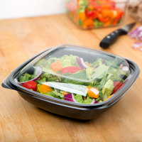 Sabert 52800B300 Bowl2 Clear Dome Lid for 24, 32, and 48 oz. Square Bowls - 50/Pack