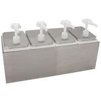 Carlisle 38504 10 Qt. Condiment Dispenser Rail with 4 Standard Pumps