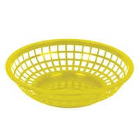 Yellow 8 inch Round Plastic Fast Food Basket - 12 / Case