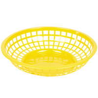 Yellow 8 inch Round Plastic Fast Food Basket - 12/Case