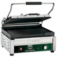 Waring WPG250TB Panini Supremo Grooved Top & Bottom Panini Sandwich Grill with Timer - 14 1/2 inch x 11 inch Cooking Surface - 208V, 2808W