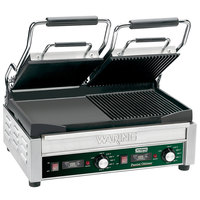 Waring WDG300T Panini Sandwich Grill with Two Grooved Plates, Two Smooth Plates, and Timer - 17 inch x 9 1/4 inch Cooking Surface - 240V, 3120W