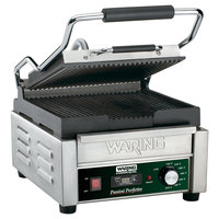 Waring WPG150T Panini Perfetto Grooved Top & Bottom Panini Sandwich Grill with Timer - 9 3/4 inch x 9 1/4 inch Cooking Surface - 120V, 1800W