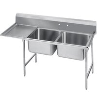 Advance Tabco 93-82-40-36 Regaline Two Compartment Stainless Steel Sink with One Drainboard - 84 inch