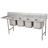 Advance Tabco 93-84-80-36 Regaline Four Compartment Stainless Steel Sink with One Drainboard - 129 inch