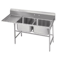Advance Tabco 94-22-40-36 Spec Line Two Compartment Pot Sink with One Drainboard - 84 inch