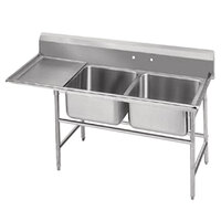 Advance Tabco 94-62-36-18 Spec Line Two Compartment Pot Sink with One Drainboard - 62 inch