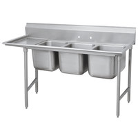 Advance Tabco 9-83-60-18 Super Saver Three Compartment Pot Sink with One Drainboard - 89 inch