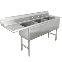 Advance Tabco FC-3-2424-24 Three Compartment Stainless Steel Commercial Sink with One Drainboard - 98 1/2 inch