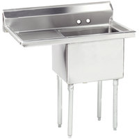 Advance Tabco FE-1-1824-24 Stainless Steel 1 Compartment Commercial Sink with 1 Drainboard - 44 1/2 inch