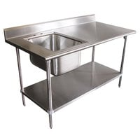 16 Gauge Advance Tabco KMS-11B-305 Stainless Steel Work Table with Sink 30 inch x 60 inch