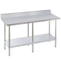 16 Gauge Advance Tabco KLAG-308-X 30 inch x 96 inch Stainless Steel Work Table with 5 inch Backsplash and Galvanized Undershelf