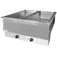 APW Wyott HFWAT-2 Insulated Two Pan Drop In Hot Food Well with Attached Controls and Plug - 240V