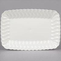 Fineline Flairware 257-BO Bone / Ivory 5 inch x 7 inch Plastic Snack Tray - 252/Case