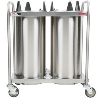 APW Wyott HTL2-10 Trendline Mobile Heated Two Tube Dish Dispenser for 9 1/4 inch to 10 1/8 inch Dishes