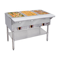 APW Wyott ST-3S Three Pan Exposed Stationary Steam Table with Stainless Steel Legs and Undershelf - 1500W - Open Well