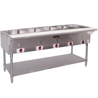 APW Wyott ST-5 Five Pan Exposed Stationary Steam Table with Coated Legs and Undershelf - 2500W - Open Well