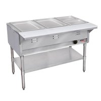 APW Wyott WGST-5 Champion Sealed Well Five Pan Gas Steam Table - Galvanized Undershelf and Legs