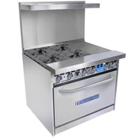 Bakers Pride Restaurant Series 36-BP-4B-G12-S30 4 Burner Gas Range with Standard 30 inch Oven and 12 inch Griddle