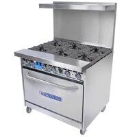 Bakers Pride Restaurant Series 36-BP-6B-S30 6 Burner Gas Range with Standard 30 inch Oven