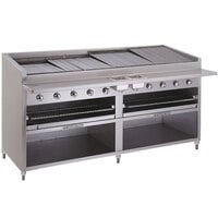 Bakers Pride F-72GS Gas Floor Model Glo Stone Charbroiler High Performance 72 inch - 255,000 BTU