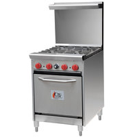 Cooking Performance Group 24-CPGV-4B-S20 4 Burner 24 inch Gas Range with 20 inch Space Saver Oven