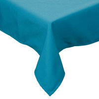 72 inch x 72 inch Teal Hemmed Polyspun Cloth Table Cover