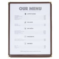 8 1/2 inch x 11 inch Single Pocket Menu Cover - Brown