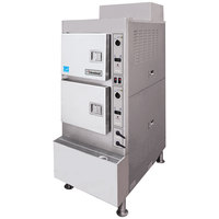 Cleveland 24CGA6.2SES Gemini 6 SST Short Series 6 Pan High Efficiency Gas Convection Floor Steamer - 100,000 BTU