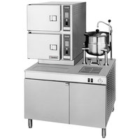 Cleveland 42-CKEM-24 Classic Series 6 Pan Electric Convection Floor Steamer with Boiler Base and 6 Gallon Steam Jacketed Kettle - 24 kW