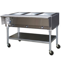 Eagle Group SPDHT3 Portable Hot Food Table Three Pan - All Stainless Steel - Open Well
