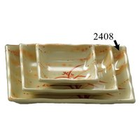Thunder Group 2408 Gold Orchid 12 oz. Rectangular Melamine Wave Plate - 12/Pack