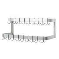 Advance Tabco GW-144 144 inch Powder Coated Steel Wall Mounted Double Line Pot Rack with 18 Double Prong Hooks