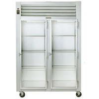 Traulsen G21012 2 Section Glass Door Reach In Refrigerator - Right / Right Hinged Doors