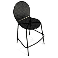 American Tables and Seating 94-BS Black Mesh Outdoor Bar Stool with Rounded Seat and Seat Back
