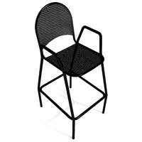 American Tables & Seating 90-BS Black Mesh Outdoor Bar Stool with Arms and Rounded Seat Back