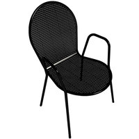 American Tables and Seating 93 Black Outdoor Chair with Arms and Rounded Seat and Seat Back