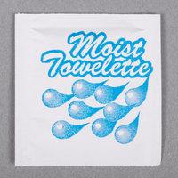 4 inch x 6 inch Lemon Scented Moist Towelette / Wet Nap - 100/Pack
