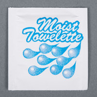 4 inch x 6 inch Lemon Scented Moist Towelette / Wet Nap - 100/Pack