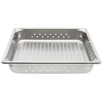Vollrath 30123 Super Pan V 2/3 Size Anti-Jam Stainless Steel Perforated Steam Table / Hotel Pan - 2 1/2 inch Deep