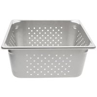 Vollrath 30263 Super Pan V 1/2 Size Anti-Jam Stainless Steel Perforated Steam Table / Hotel Pan - 6 inch Deep
