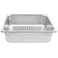 Vollrath 30143 Super Pan V® 2/3 Size Anti-Jam Stainless Steel Perforated Steam Table / Hotel Pan - 4 inch Deep