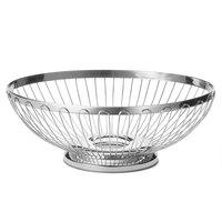 Tablecraft 6176 Oval Stainless Steel Regent Basket - 11 inch x 8 1/4 inch x 3 3/4 inch
