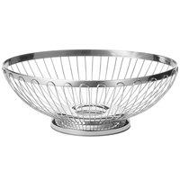 Tablecraft 6174 Regent Medium Oval Stainless Steel Basket - 9 1/2 inch x 7 1/4 inch x 3 1/4 inch