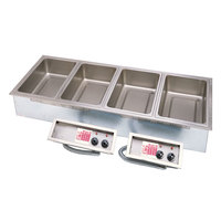 APW Wyott HFW-4DT Insulated Four Pan Drop In Hot Food Well with Thermostatic Controls and Drain